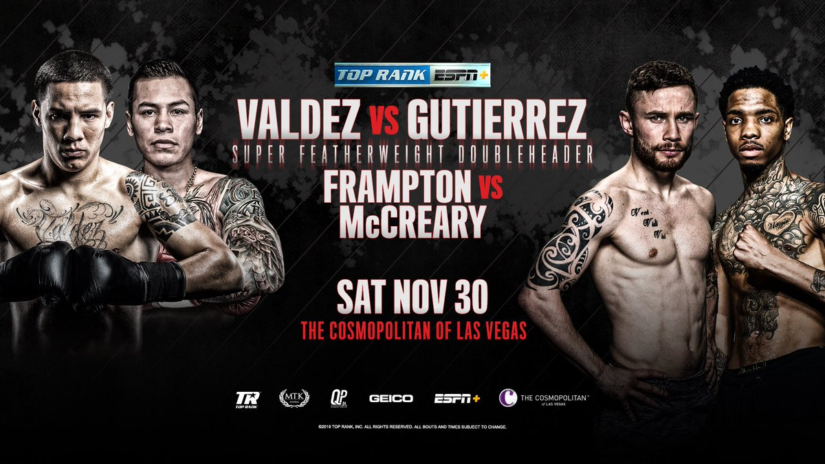 JUST ANNOUNCED: A double serving in one of boxing's hottest divisions is coming your way, Thanksgiving weekend in Las Vegas on ESPN+.  <br>http://pic.twitter.com/qIcxN3yaSg
