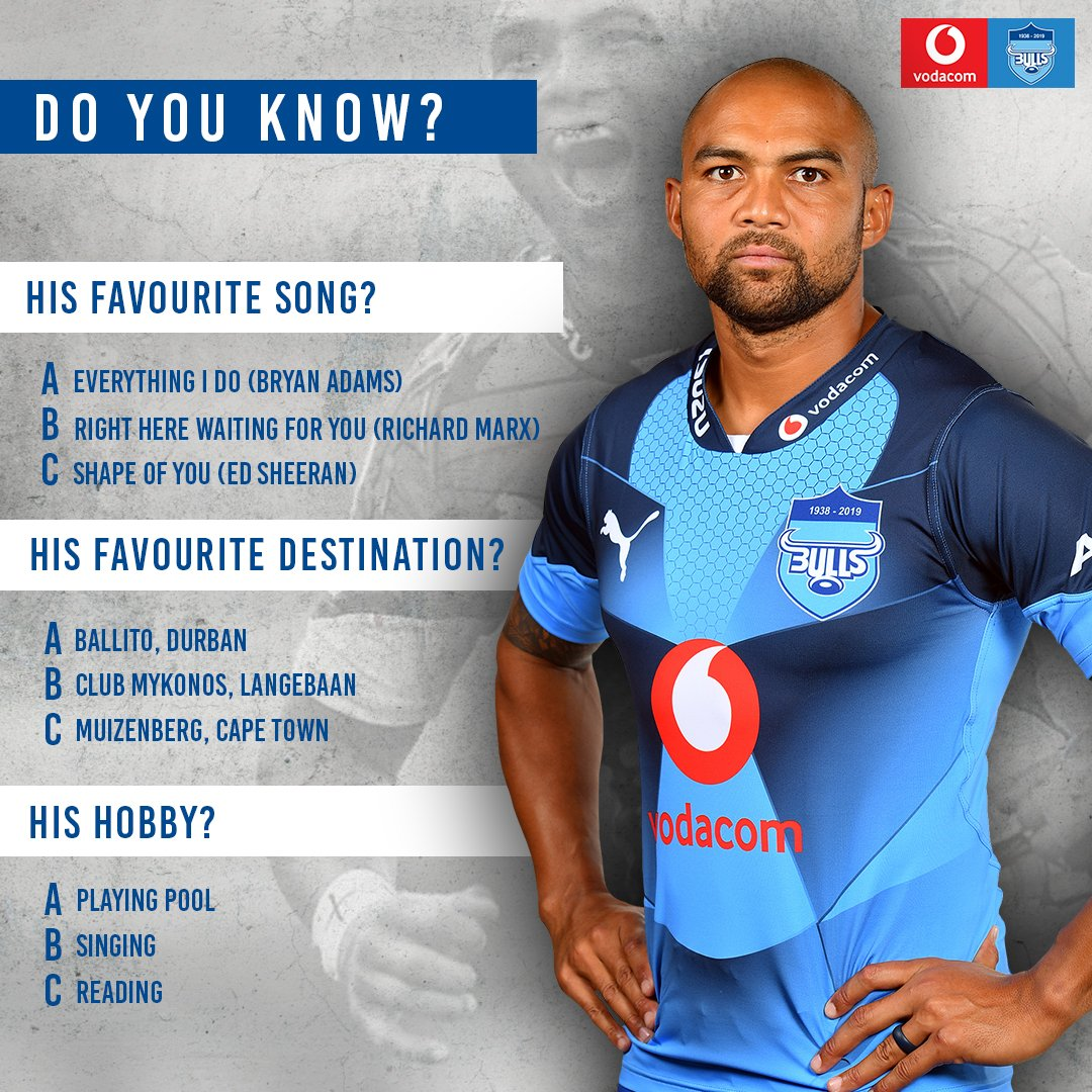Do you know: Cornal Hendricks We know they play rugby, but what else do we know about them when they are not on the rugby field? Give us your answers below, lets see how well you know your Vodacom Blue Bulls players! #Bullsfamily