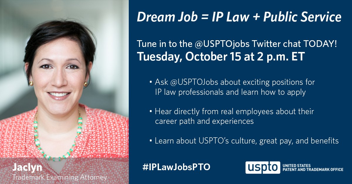 Don't miss the #IPLawJobsPTO Twitter chat today at 2 pm ET.