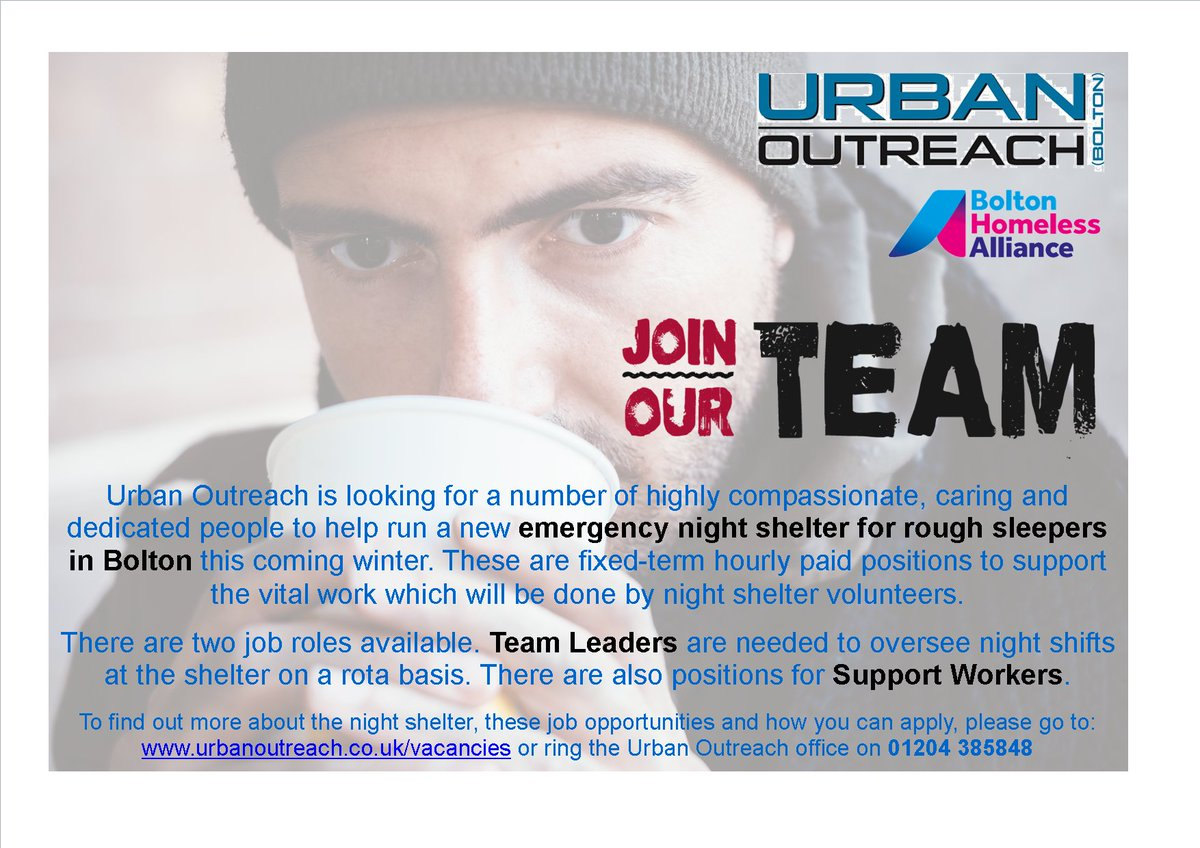 9 days to go until our Night Shelter job opportunities close!! We are looking to recruit Team Leaders and Support Workers. Further details can be found at urbanoutreach.co.uk/vacancies/ Please RT