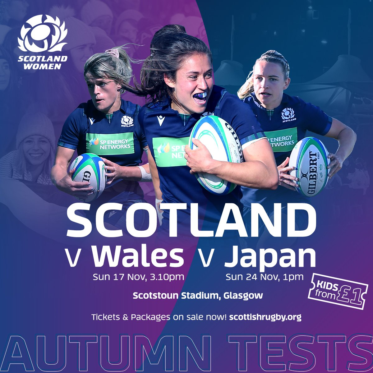 Catch Scotland in action this November at Scotstoun in two Autumn Tests! 🏴 4 & 2-match packages and individual match tickets on sale now 🎟️ bit.ly/Scot1920 #AsOne