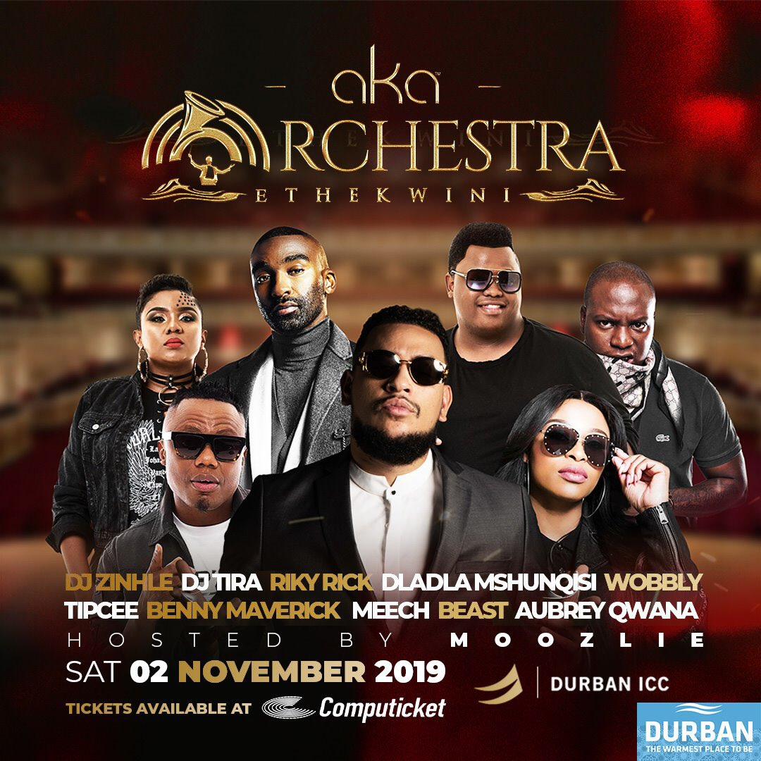 Durban!!!! We coming through for @akaworldwide #AKAOrchestraEthekwini get your tickets lets rock!!!!! <br>http://pic.twitter.com/O9MBqNFUtl