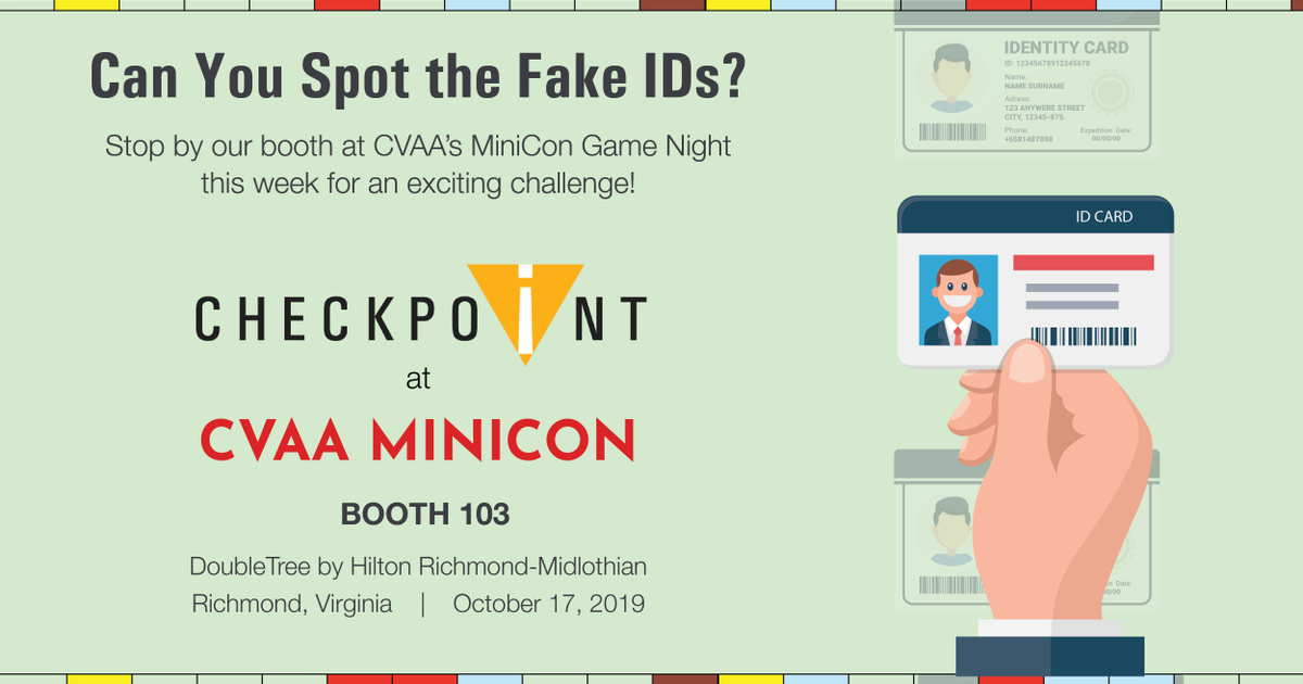 Are you at CVAA's MiniCon Game Night this week? Put your skill to a test! Stop by our booth and see if you can spot a fake ID!  #checkpointid #safertours #propertymanagement #weverify #rentalfraud #multifamily #idscanning #cvaa #minicon #gamenightpic.twitter.com/9m0b0D78rJ