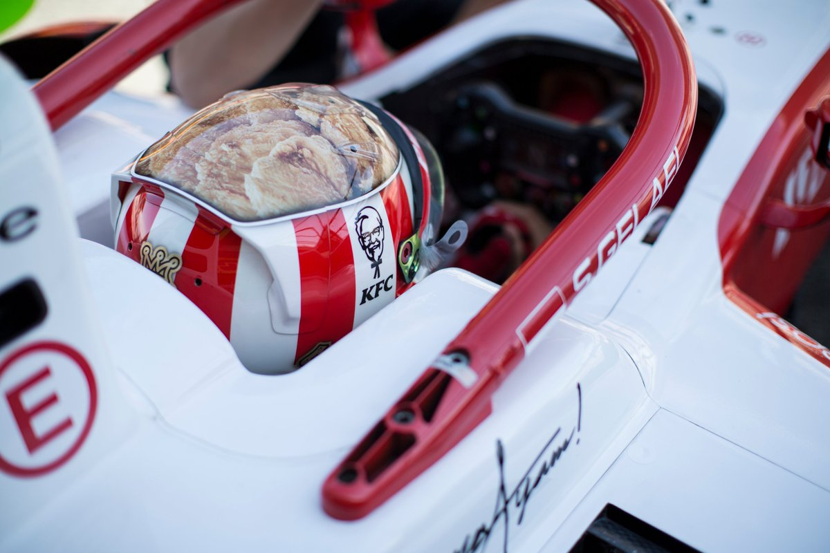 It's arguably the most recognisable helmet on the grid 🍗  How @PREMA_Team, Indonesia, and fried chicken all came together to form @gelaelized's lid 👉 http://tinyurl.com/GEL-Helmet   #F2 #Formula2