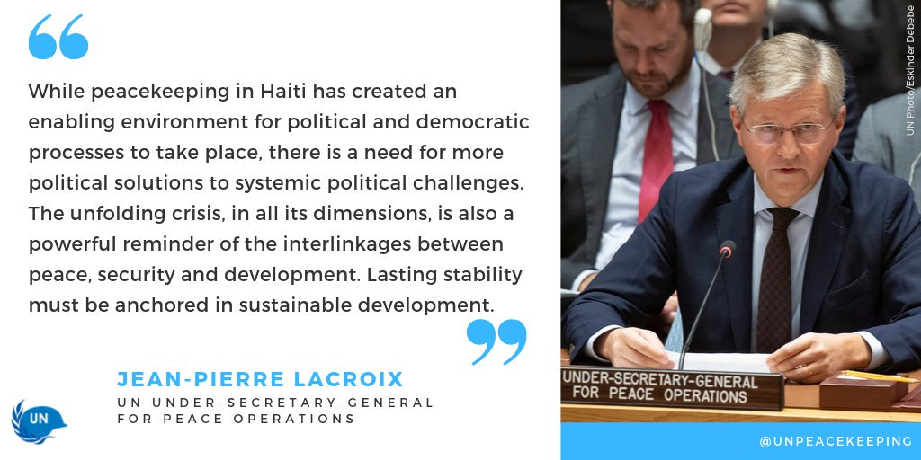 Our Head @Lacroix_UN briefed the @UN Security Council today on the last day of @MINUJUSTH, as we transition from peacekeeping to a political mission. #UNSC   📺: http://ow.ly/Jjyu50wLSk0