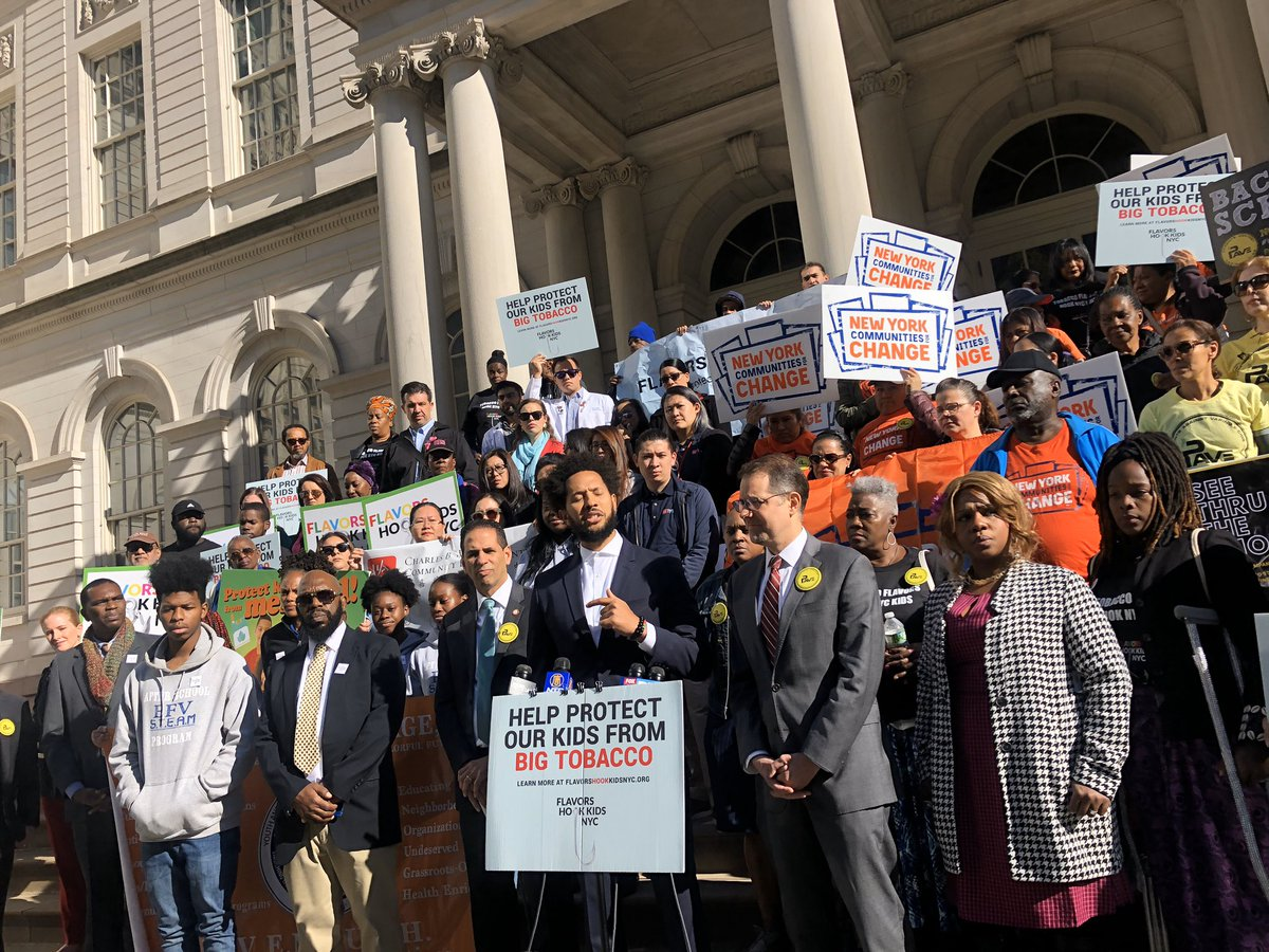Advocates in New York City are out in force today supporting the bills cracking down on flavored tobacco products. @NYCCouncil #FlavorsHookKidsNYC