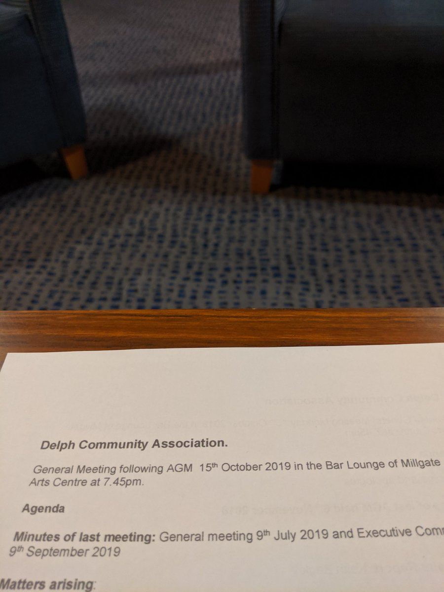 Great meeting of the Delph Community Association tonight at the beautifully renovated @millgatearts 🎭 (Including my dad's seat).  Lots of people with a lot of drive to improve our fantastic village - as a Councillor & local resident I'll do what I can to help! #LoveWhereYouLive
