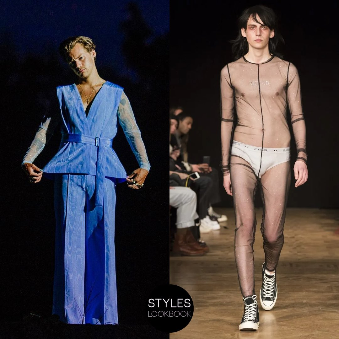 In the Lights Up video, Harry wore a custom body suit by#LAZOSCHMIDL underneath his Harris Reed jumpsuit. The brand created a custom version of their glitter tulle body suit shown from their Fall 2018 collection, which was rendered in a sky blue color.  https:// styleslookbook.com/post/188372263 107/in-the-music-video-for-lights-up-harry-wore-a  … <br>http://pic.twitter.com/xefApLNFSZ