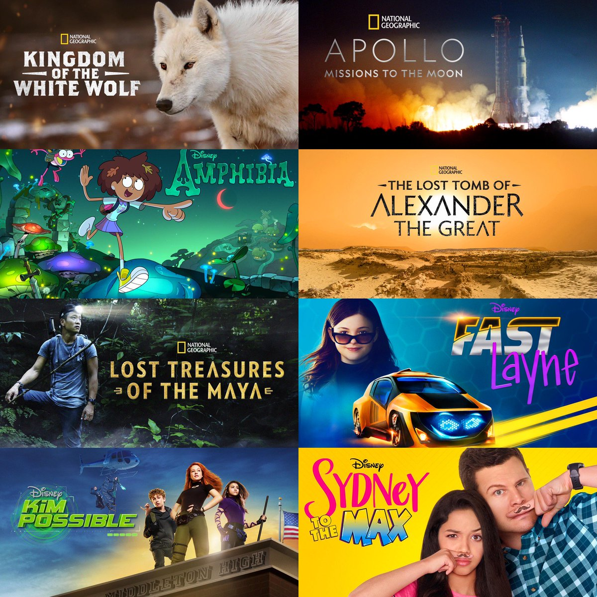 @Disney  has posted a preview of shows and movies that will be on  @disneyplus  , which ones are you excited about hope will be on it? #Disney #DisneyPlus #NatGeo #Amphibia #FastLayne #AlexanderTheGreat #LostTreasuresoftheMaya #ApolloMissionsToMars