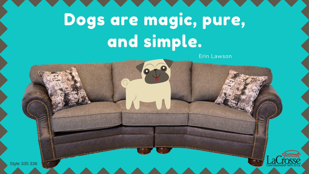 #NationalPugDay This pug is showing some love with a LaCrosse Furniture 335 336 Lawrence conversations sofa. Made in LaCrosse, Kansas.