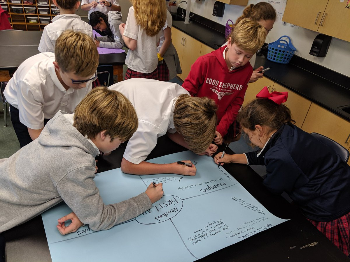 Silently sharing our ideas about Newton's Laws on Frayer Model posters after a video and discussion. #GSESDallas