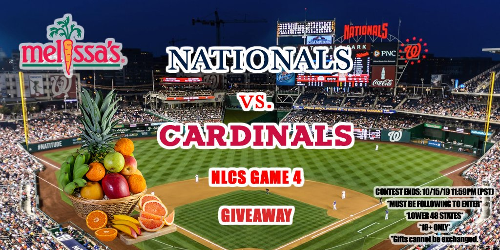 🏆GIVEAWAY🏆 Game 4 is here at #NationalsPark! Will the @Nationals get another #CurlyW to head to the #WorldSeries? It's #NLCS time vs. @Cardinals. #postseason   ⚾️ Must be following @MelissasProduce  ⚾️ Retweet and tag your friends to win!  #STAYINTHEFIGHT #TimeToFly