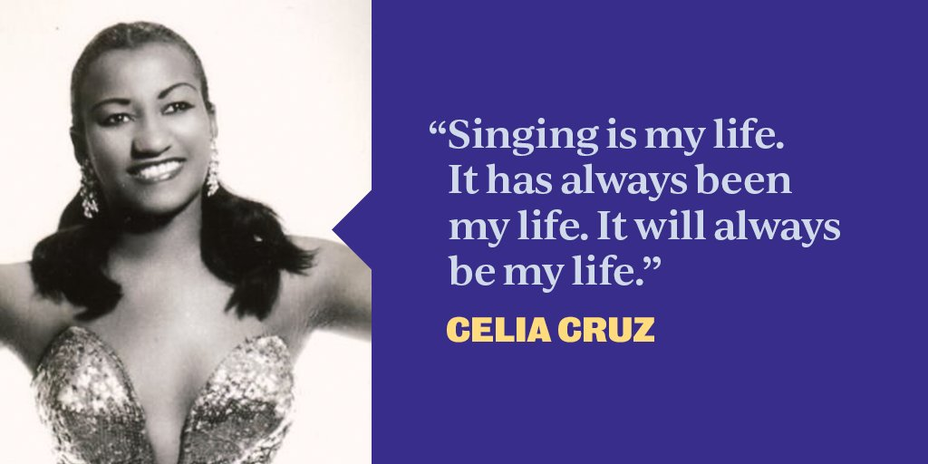"""The """"Queen of Salsa"""" Celia Cruz was one of the most popular Afro-Cuban artists of the 20th century, earning multiple GRAMMYs, gold and platinum records. Celia used her platform to be an outspoken advocate for displaced Cubans over her lustrous career. #HispanicHeritageMonth <br>http://pic.twitter.com/rysfNDCjtb"""
