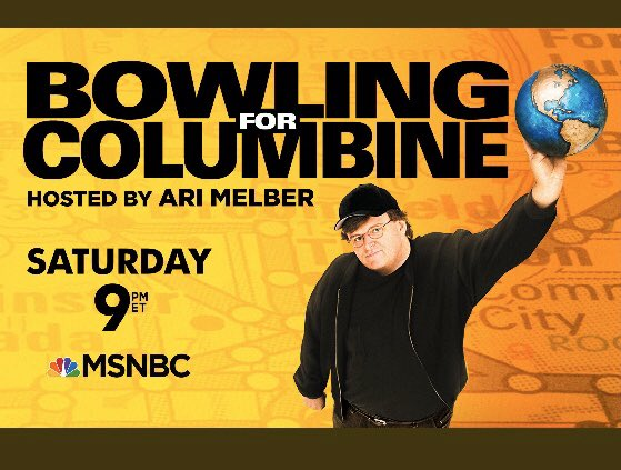 """MSNBC announced today that they will air a rare prime time screening of """"Bowling for Columbine"""" this Saturday at 9pm ET. After the film I will join host Ari Melber for an interview. I invite you to join us this Saturday night. Guns, America, violence, fear, racism, men, profit. <br>http://pic.twitter.com/C7IaB7EpZQ"""