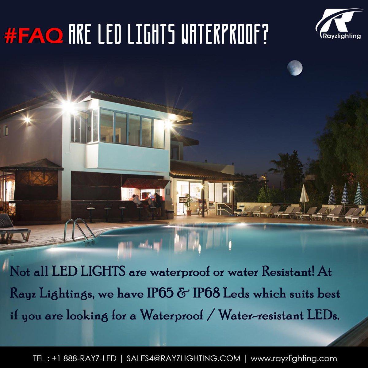 Are LED Lights WaterProof? Not all LED LIGHTS are waterproof or Water Resistant! At Rayz Lightings, we have IP65 & IP68 Leds which suits best if you are looking for a waterproof/water-resistant LEDs.   #rayz #rayzlighting #resellerusa #rebate #rebatedeals #rebates #rebateprogram pic.twitter.com/gFp1sSEDOC