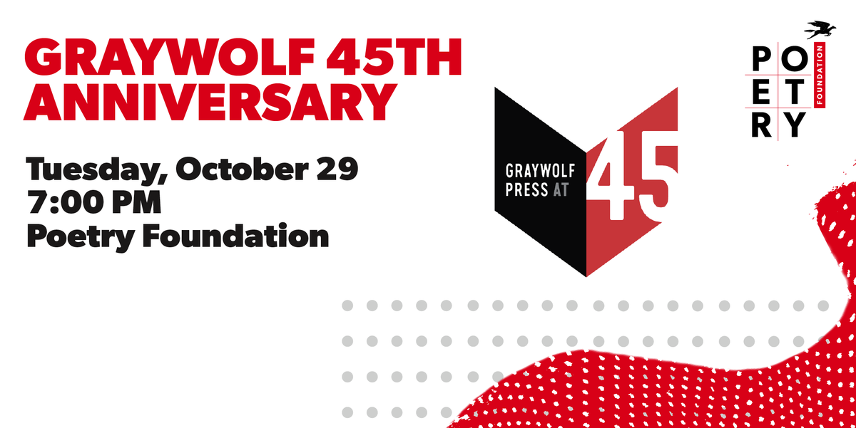 Were celebrating 45 years with @_nick_flynn_, @lizitasmith, @ErikaLSanchez, @dlseuss, and Tom Sleigh at the @PoetryFound on 10/29! RSVP online: poetryfoundation.org/events/150434/…