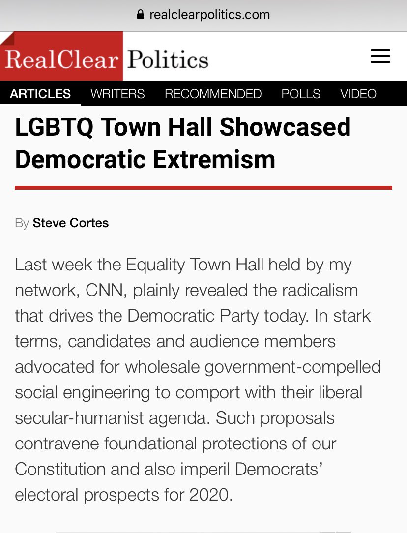 Will my network, CNN, challenge the Dem candidates tonight on the social-engineering extremism they espoused last week?#DemDebate My article... realclearpolitics.com/articles/2019/…