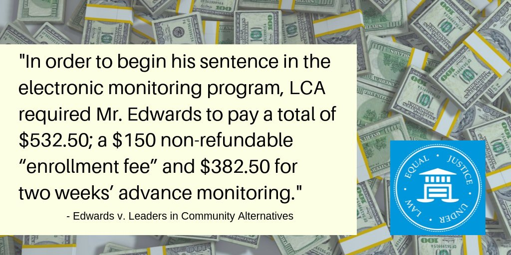 """Our case Wright v. Leaders in Community Alternatives (LCA) challenges a private probation company in CA that charges daily fees to its """"clients"""" to be under supervision. Read more:  https:// buff.ly/2Q3qi7Q     #decriminalizepoverty #economicjustice <br>http://pic.twitter.com/eOhYbYtnGp"""