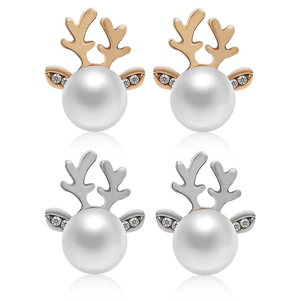 #trendalert #envywear Women's Deer Shaped Pearl Earrings