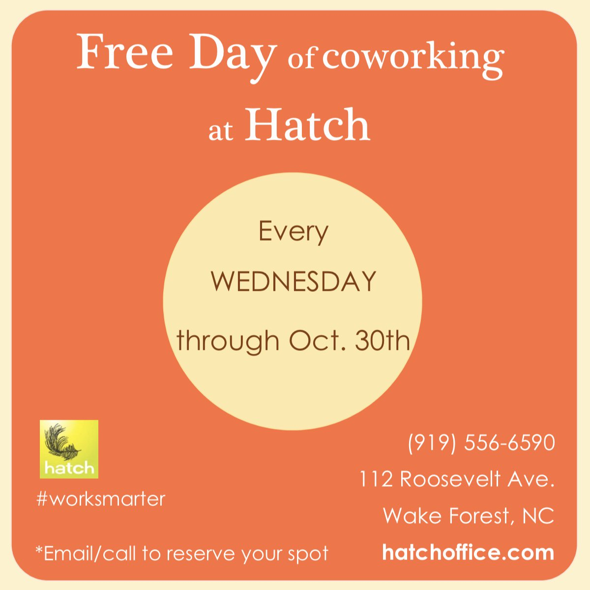 Join us this Wednesday for a day of FREE COWORKING  -- Email or call ahead to reserve your spot-- (919)556-6590 - 112 Roosevelt Ave. Wake Forest, NC -  http:// hatchoffice.com     - #hatch #lovewhereyouwork #worksmarter<br>http://pic.twitter.com/c6nZn0EXwT