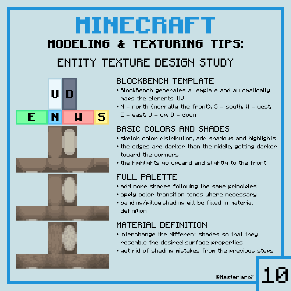 RT @MasterianoX: 10th #Minecraft Modeling&Texturing Tip!  Thank you for 400 followers! I decided to switch up the plan and celebrate the first 10 tips and 400 followers with the most popular request I've received.  @blockbench #3D #modeling #pixelart #ga…