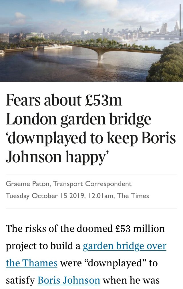 Previous deals negotiated by Boris Johnson include: - £50 million for a non-existent bridge. - £300 million for a fleet of buses that doubled as saunas. - A stadium conversion which cost taxpayers £20 million a year. - Three unused water cannon which had to be sold for scrap.