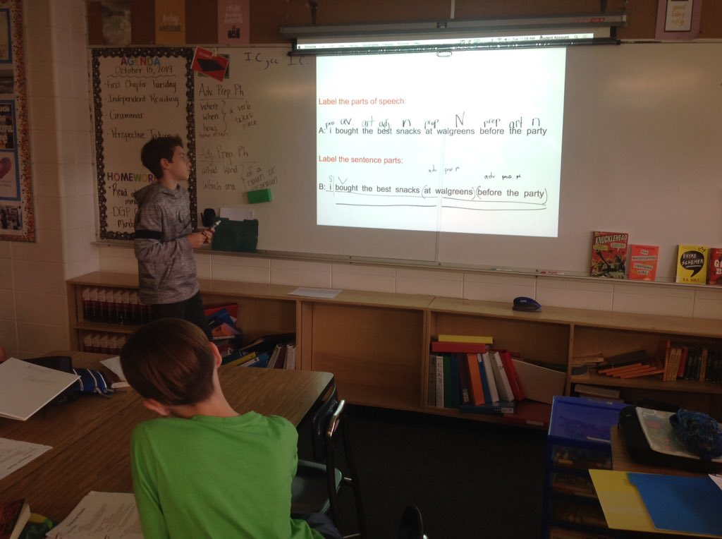We had a new grammar instructor today in ELA 5/6! He did a great job explaining his thought process.