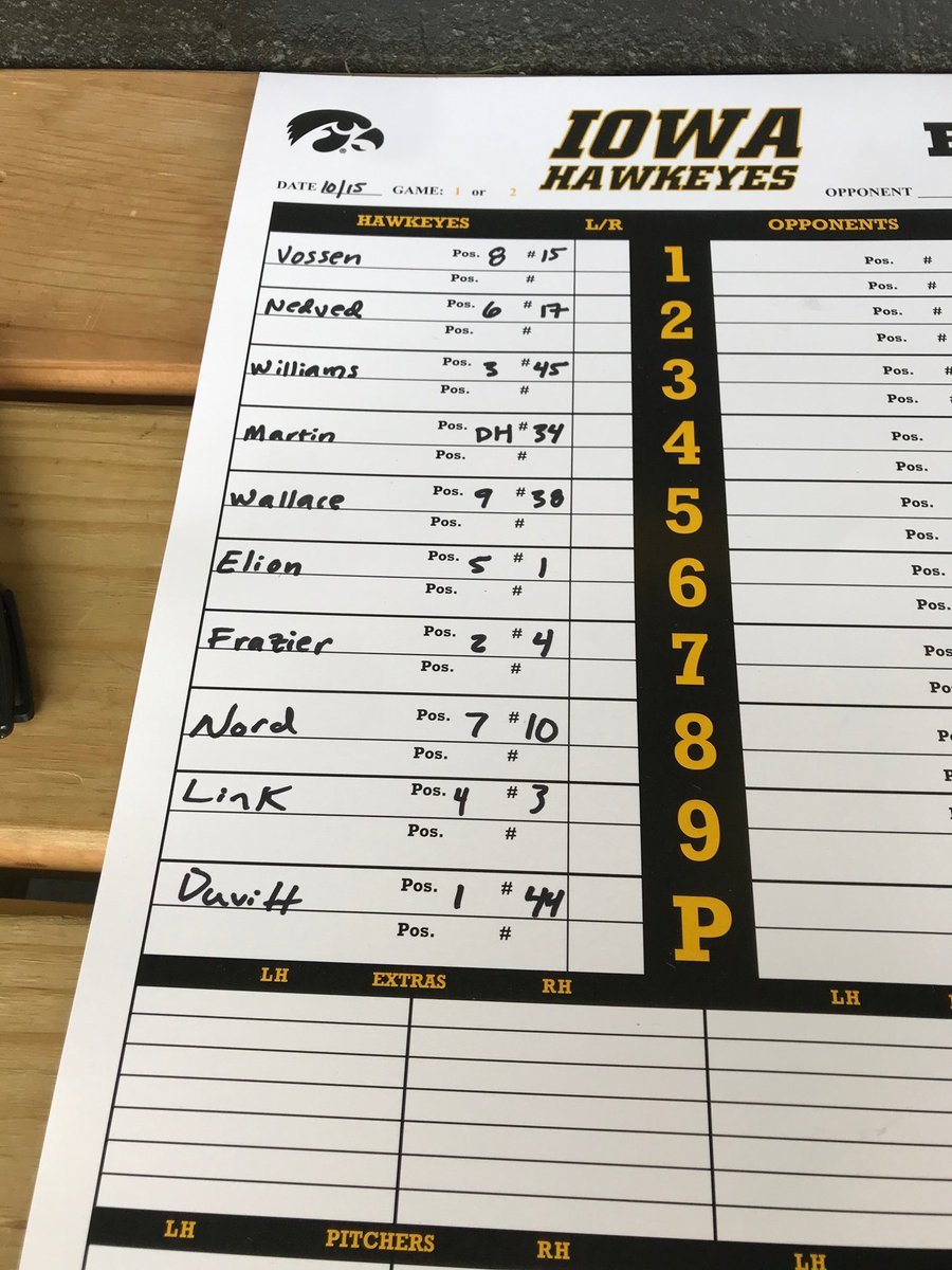 Starting lineups for Game 1️⃣ of the Black & Gold World Series. #Hawkeyes