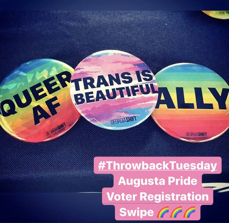 #ThrowbackTuesday Let's take it back to one of our favorite local Augusta events #AugustaPride!  We love being part of the celebrations and what better way to celebrate than to build up the young LGBTQ+ voting power by registering them to vote!  #QueerAF #WeRunThis <br>http://pic.twitter.com/Fs1WjYAng5