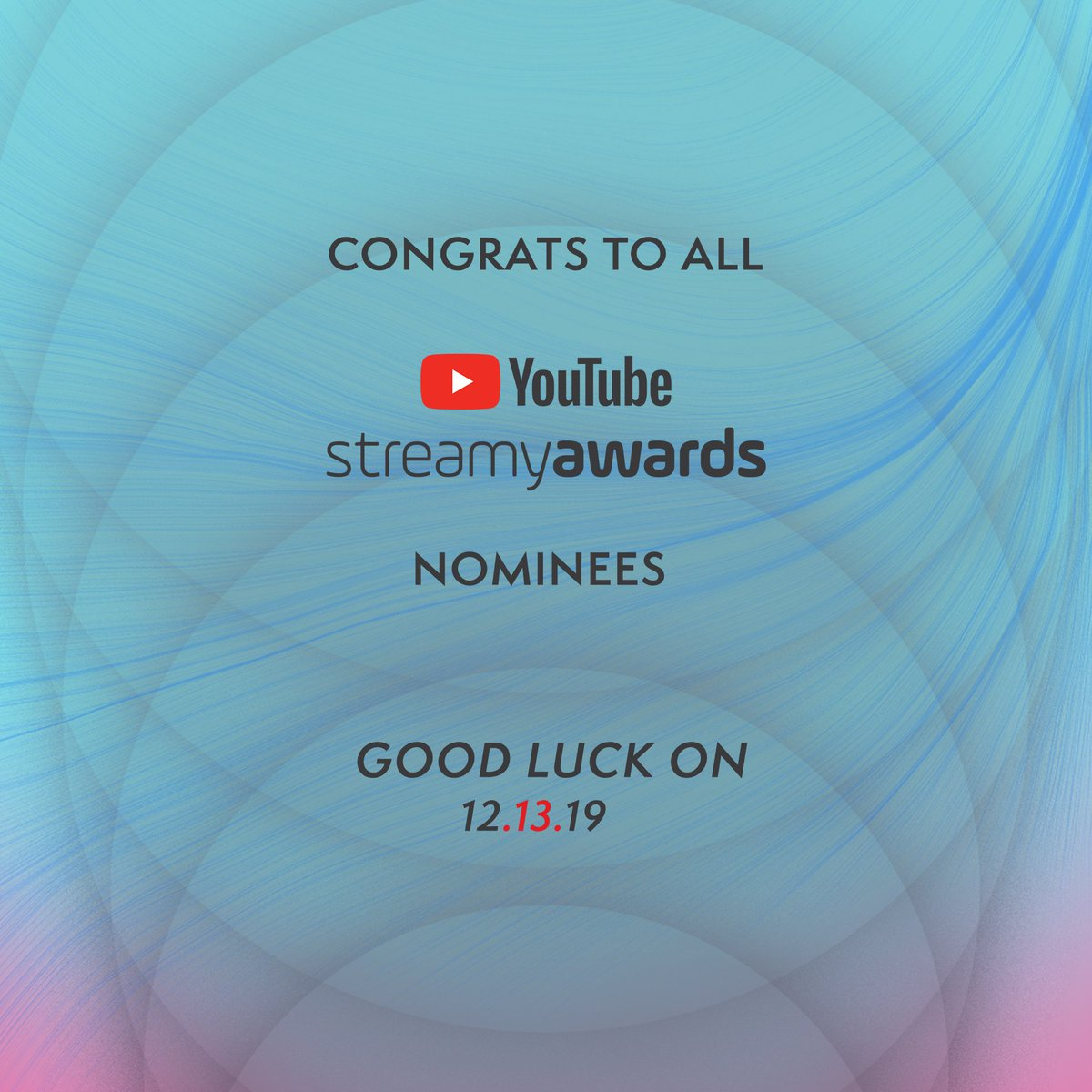 Congrats to all the creators nominated in the @streamys! Let's get these awards. 💪