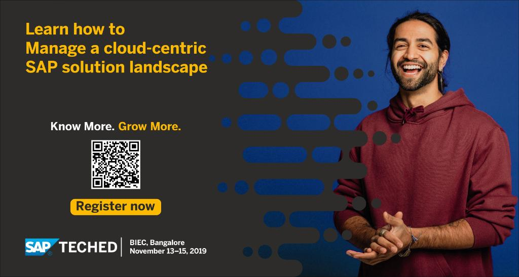 Get acquainted with the preconfiguration benefits and the ease-of-use features available for cloud-centric environments. Learn how to build, operate, and manage a cloud-centric SAP solution landscape.  Join us at #SAPTechEd Bangalore 2019.  Register now: http://sap.to/60181Gy1m