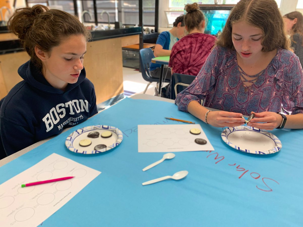 The 8th grade Earth Science students are learning about the moon, how it moves and its phases. They participated in an Oreo Moon Phase lab where they used Oreos  to construct the different phases of the moon through its monthly lunar  cycle. #sciencerocks <br>http://pic.twitter.com/92MphYaAXl