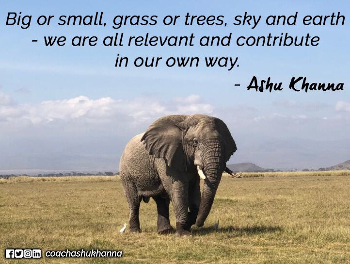 #Ashukhanna #Ashuinspires #ArkaLeadership #big #small #grass #tree #trees #sky #earth #way #elephant #wildlife #forest #jungle #motivate #quotes #quote #inspire #motivationalquotes #inspirationalquotes #inspiration #motivation #quotesdaily #quotesaboutlife #WednesdayWisdom #life