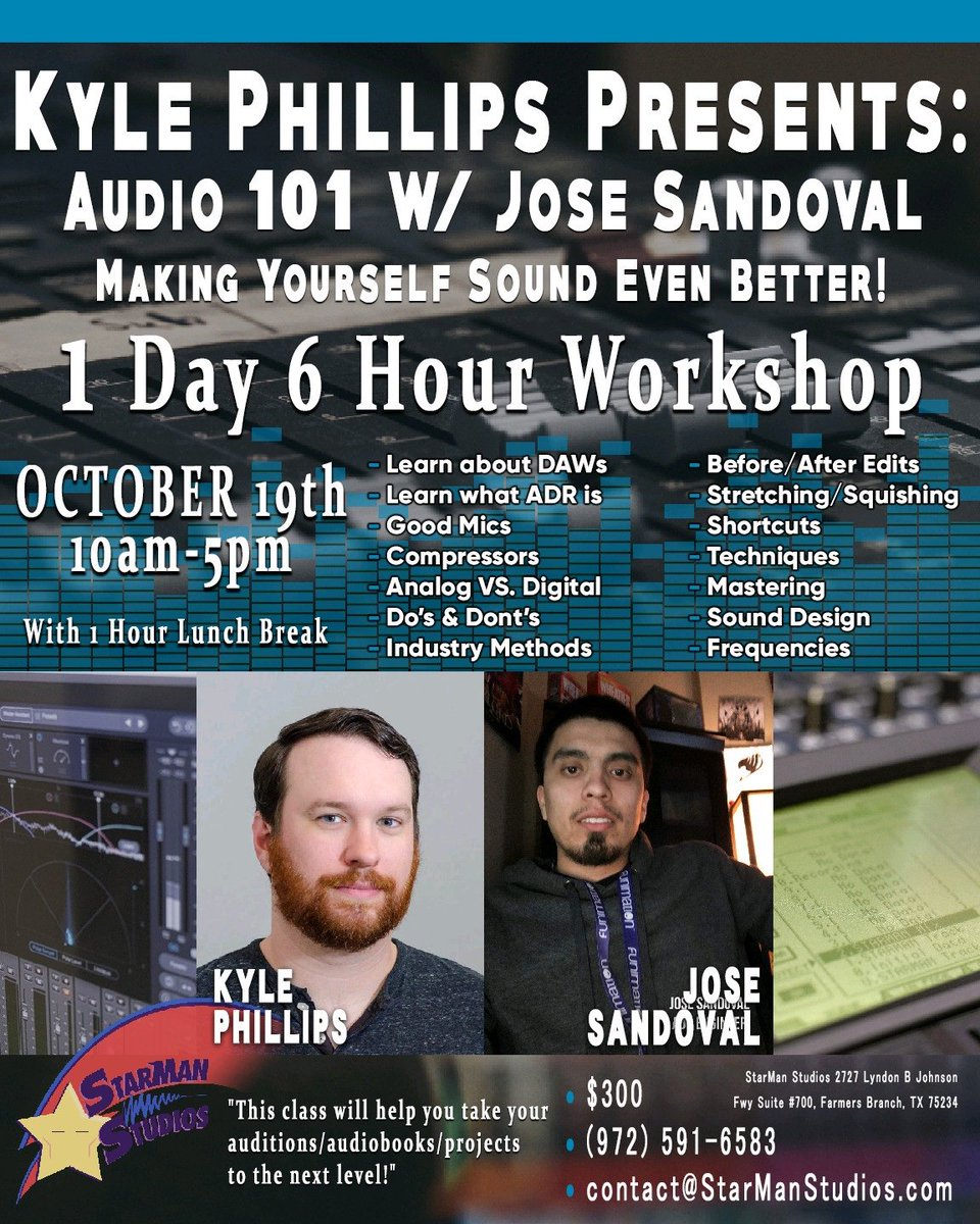 So you're ready to record your own demos, audiobooks, auditions, etc... but you feel like it could be better. That's where Jose Sandoval comes in, one of the best in the biz! He'll show you signal path, good gear, tips, tricks, and more! Email contact@starmanstudios.com for info! <br>http://pic.twitter.com/P0Z5V026J3