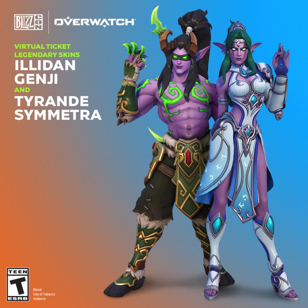 Prepare to suit up as Illidan Genji and Tyrande Symmetra. Now available in-game!      http:// blizz.ly/VT2019    <br>http://pic.twitter.com/myT1MSyvp6