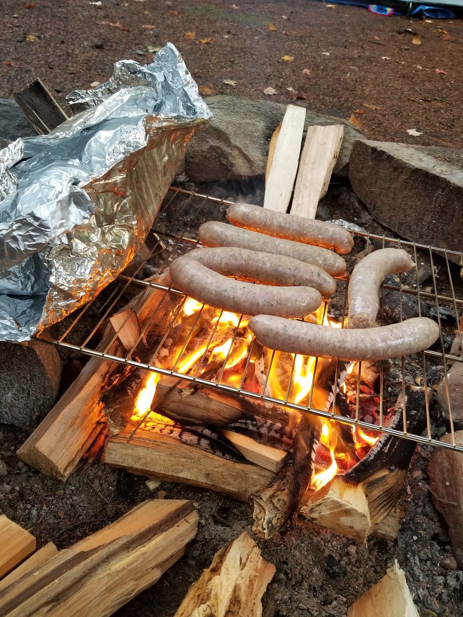 A1: no leftovers for us - we had our Thanksgiving meal at camp!! Guys, I successfully cooked over a fire!!!! Foil pack potatoes, turkey sausages, box stuffing and boiled peas & carrots were a great Thanksgiving feast  #WeGetOutside<br>http://pic.twitter.com/IMx3mYeso2