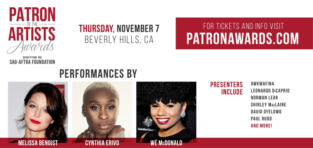 Excited to announce the first round of performers & presenters for this year's #PatronAwards. Join us on Nov. 7 as we honor #JenniferAniston, #MarkRuffalo, #AvaDuvernay & #GregBerlanti! Join the celebration of performing artists. For tix & more visit http://patronawards.com .
