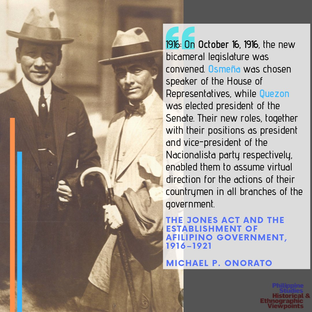 THIS DAY IN PHILIPPINE STUDIES  Excerpt from The Jones Act and the Establishment of A Filipino Government, 1916–1921  Michael P. Onorato  Philippine Studies vol. 14, no. 3 (1966): 448–459 [https://bit.ly/2VJvAEx ]  #thisdayin #philippinestudies #osmena #quezon #filipino #history