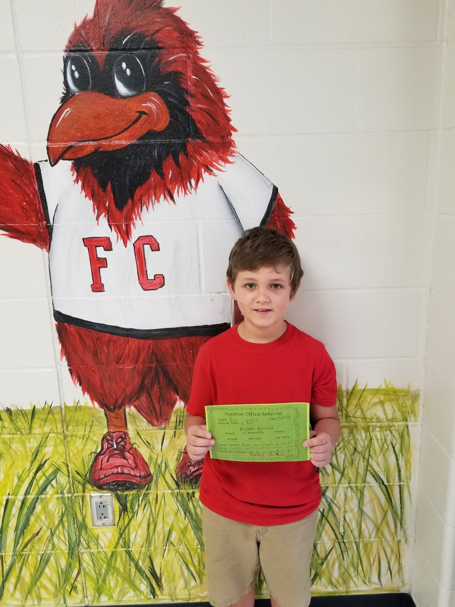 Another amazing Cardinal at FCE with a positive office referral.  @HumbleISD_FCE #FCExcellence  #BeTheLight #Carinals2019<br>http://pic.twitter.com/0wZsMSxtHv