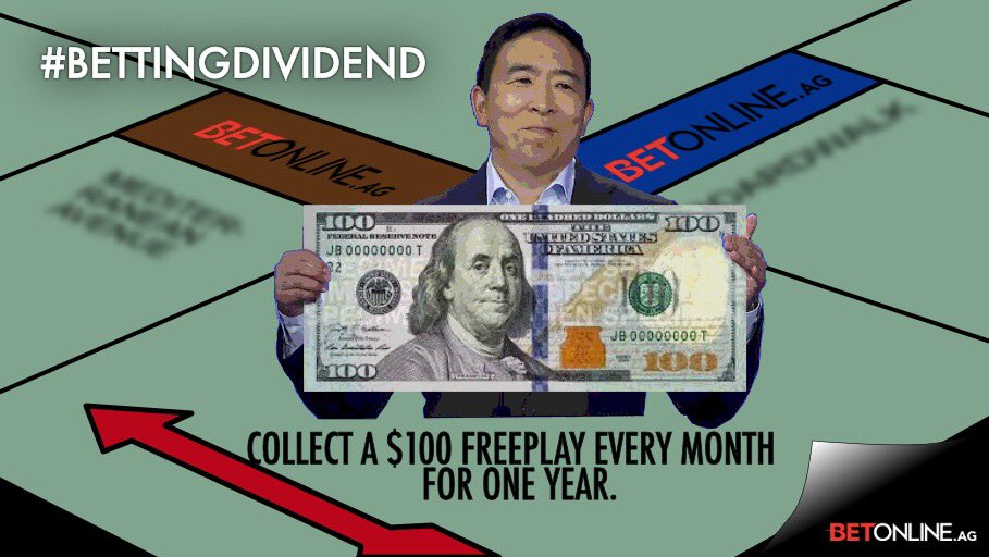 We like what @AndrewYang is doing so much...   We're giving away a #BettingDividend = $100 freeplay every month for one full year!!   Be the first to guess the total yards correctly in this week's #SNF Game featuring the @DallasCowboys and the @Eagles!   Retweet and follow!<br>http://pic.twitter.com/JFzkPRGXuw