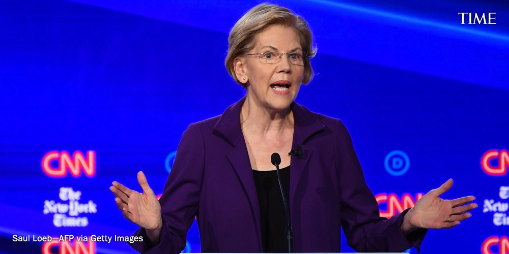 """Sen. Elizabeth Warren at the #DemDebate: """"My question is not why do Bernie and I support a wealth tax, it's why does everyone else on this stage think it is more important to protect billionaires than it is to invest in an entire generation of Americans"""" https://ti.me/33A98kc"""