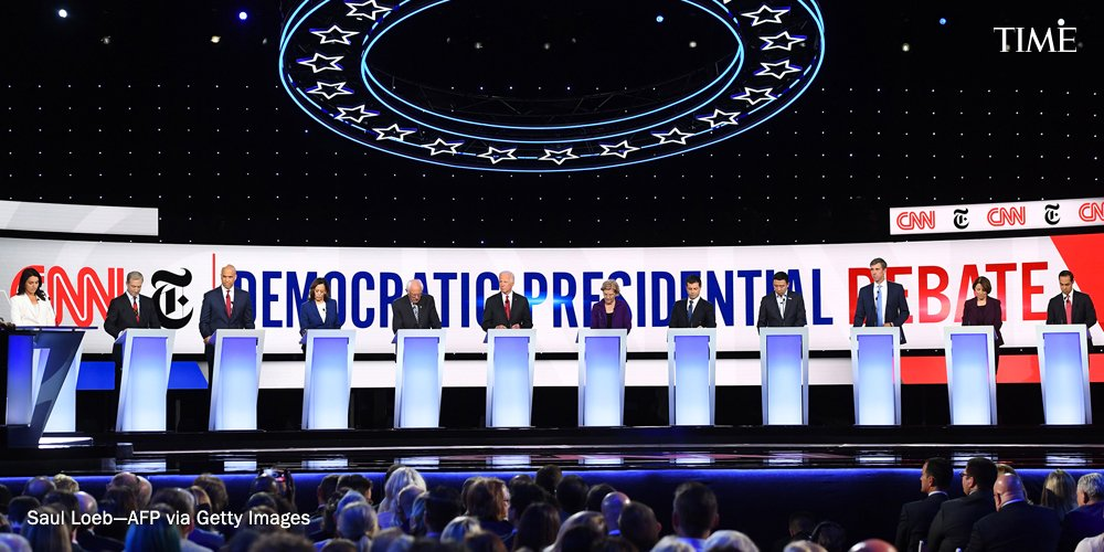 Impeachment took center stage as soon as the #DemDebate kicked off, marking a turn away from prior Democratic primary debates, which began with questions about health care https://ti.me/2nTUxRu