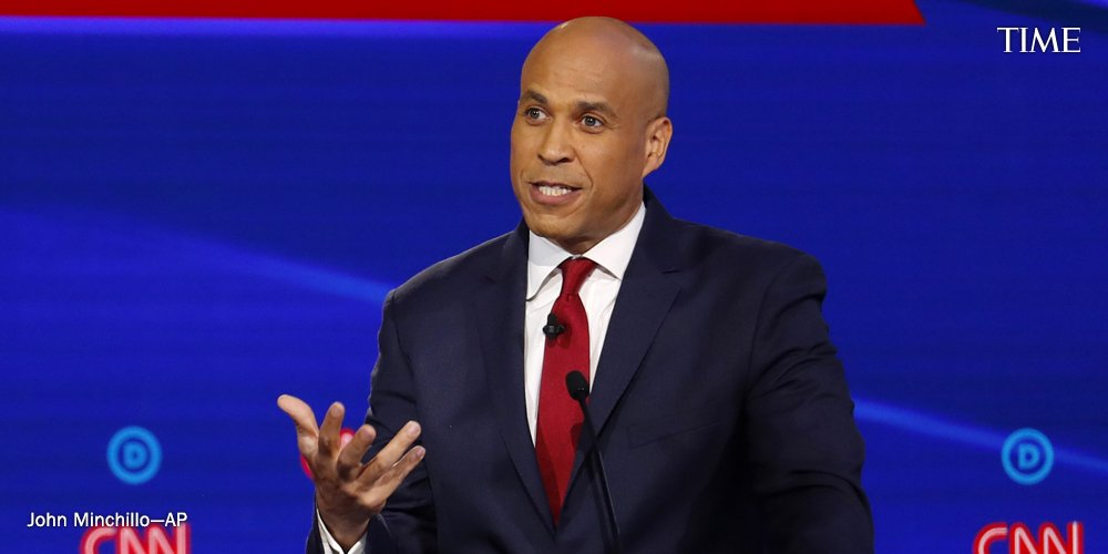 """""""We've got one shot to make Donald Trump a one-term president. And how we talk about people on this stage actually really matters,"""" says Sen. Cory Booker. """"Tearing each other down because we have a different plan to me is unacceptable"""" #DemDebate https://ti.me/2MGxj9I"""