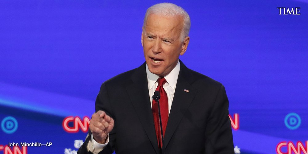 """""""It has been the most shameful thing that any president has done in modern history in terms of foreign policy,"""" Biden answers after being asked about Trump's decision to withdraw troops from Syria at the #DemDebate https://ti.me/35zY88a"""