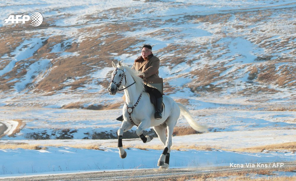 North Korean state media KCNA releases photos of leader Kim Jong Un riding a white horse on Mount Paektu