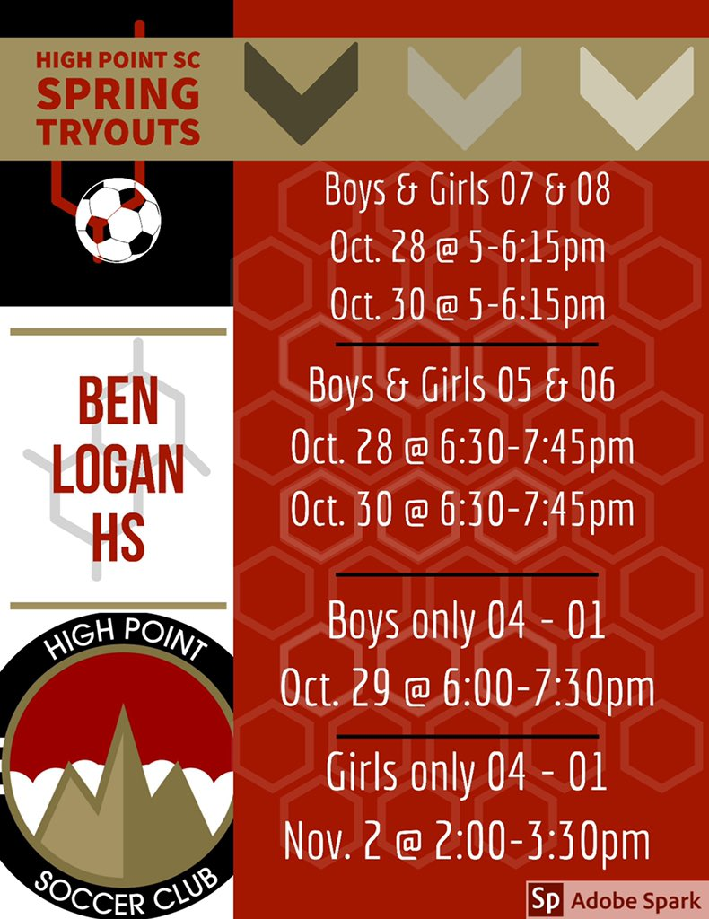 Here it is. Spring tryout dates and times for High Point S.C. have been released. <br>http://pic.twitter.com/LsCf9zpD1k