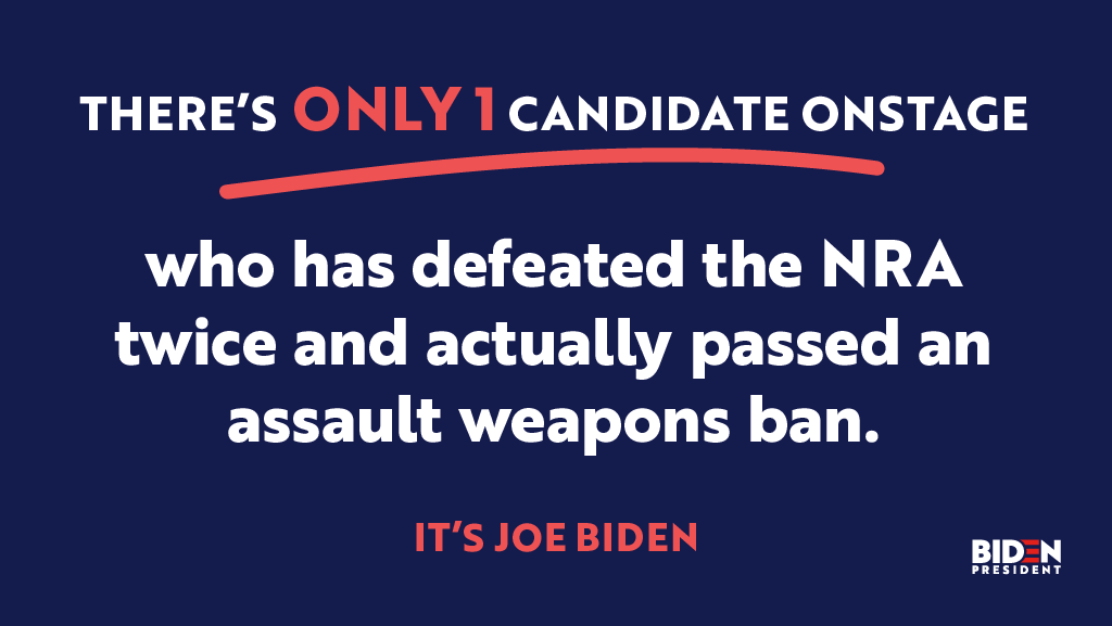 Joe Biden has a bold plan to end our gun violence epidemic. But it's going to take more than plans—it's going to take leadership and a proven ability to get things done. Hes banned assault weapons and high-capacity magazines before & hell do it again. JoeBiden.com/GunSafety