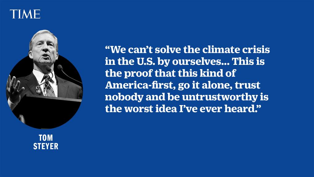 """""""Let's go to the most important international problem that we're facing which no one has brought up, which is climate,"""" Tom Steyer says at the #DemDebate https://ti.me/2OQEkYd"""