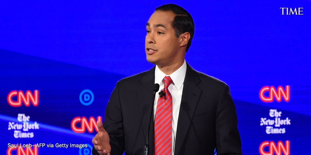 """""""You all saw a couple of days ago what happened to Atatiana Jefferson,"""" says Julián Castro. """"I'm not going to give these police officers another reason to go door-to-door in certain communities because police violence is also gun violence"""" #DemDebate https://ti.me/35Ci0rk"""