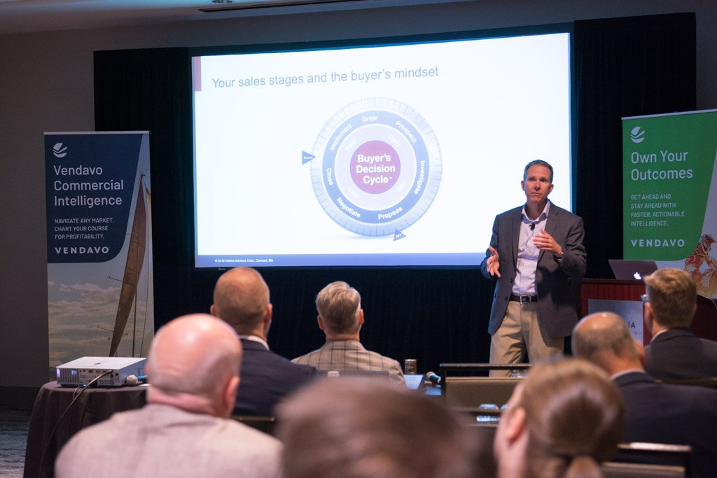 Fantastic audience at the @Vendavo conference last week!  Honored that I had the opportunity to share some thoughts on how to empower your sales team to enact your pricing strategy.  To earn higher profits, the key is pricing and sales teamwork. #pricing #sales